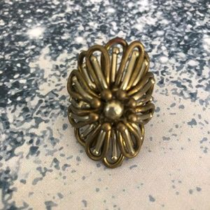 ✨Vintage 1970's Flower Power Brass & Nickel Ring